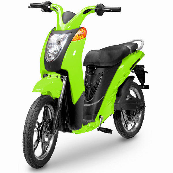 The Jetson E-Bike, shown in lime green.