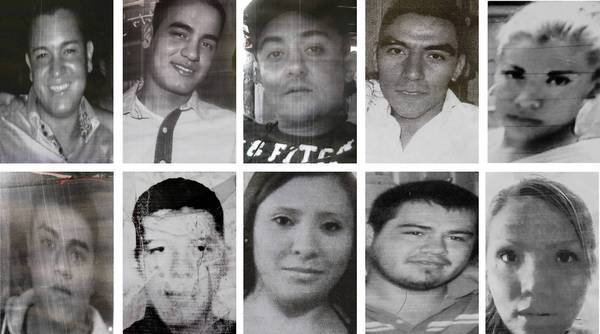 Images taken from flyers made by relatives show 10 of the 12 people who vanished from a bar in Mexico City on May 26, 2013.