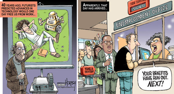 This Horsey cartoon from 2010 pictures the dilemma of the chronically unemployed - a dilemma that continues for many Americans.