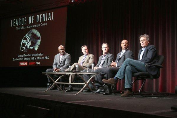 "NFL Hall of Famer Harry Carson, investigative reporter and author Mark Fainaru-Wada, journalist and ESPN writer Steve Fainaru, senior coordinating producer at ESPN Dwayne Bray and filmmaker Michael Kirk speak onstage during the ""League of Denial: The NFL's Concussion Crisis"" panel at the 2013 Summer Television Critics Assn. press tour."