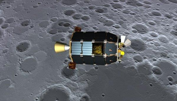 An artist's depiction of NASA's Lunar Atmosphere and Dust Environment Explorer (LADEE) spacecraft.