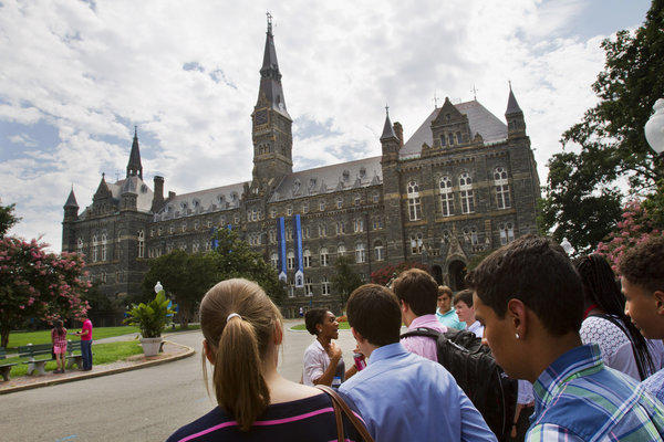 Prospective students tour Georgetown University's campus in Washington.