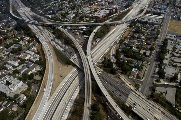 "The empty 405 freeway looking southbound during ""Carmageddon."""