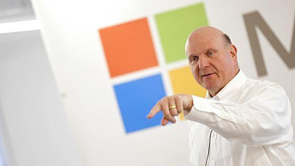 Steve Ballmer, CEO of Microsoft, speaks to an audience of developers and local firms and start ups at 1871, located inside of the Merchandise Mart in Chicago in March.