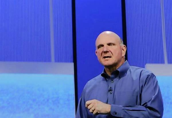 "Microsoft CEO Ballmer speaks during his keynote address at the Microsoft ""Build"" conference in San Francisco."