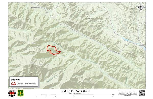A map shows the Gobblers fire line in the San Bernardino National Forest. The fire has grown to 335 acres.