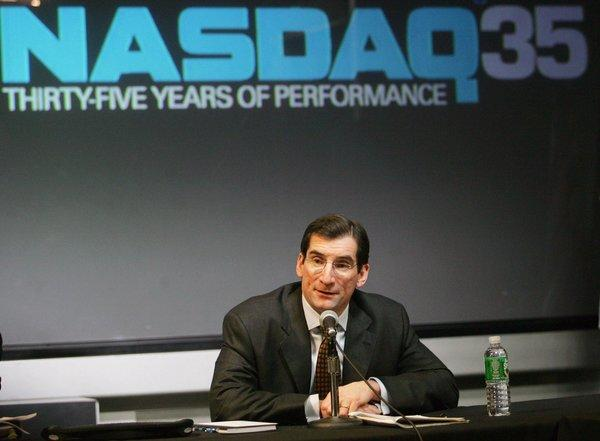 NASDAQ President and Chief Executive Officer Robert Greifeld speaks at a news conference in New York on Feb. 15, 2006.