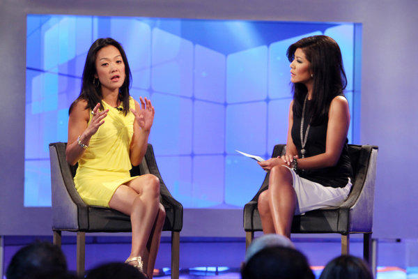 "Host Julie Chen interviews Helen Kim following her eviction on ""Big Brother."""