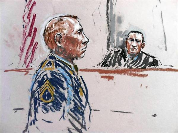 Army Staff Sergeant Robert Bales and the judge Army Colonel Jeffery Nance are shown in this courtroom sketch during a pre-sentencing hearing