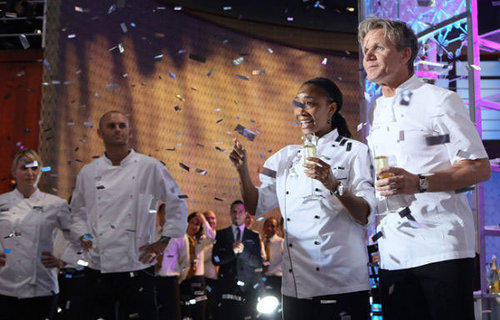 Ja'Nel Witt celebrates with chef Gordon Ramsay