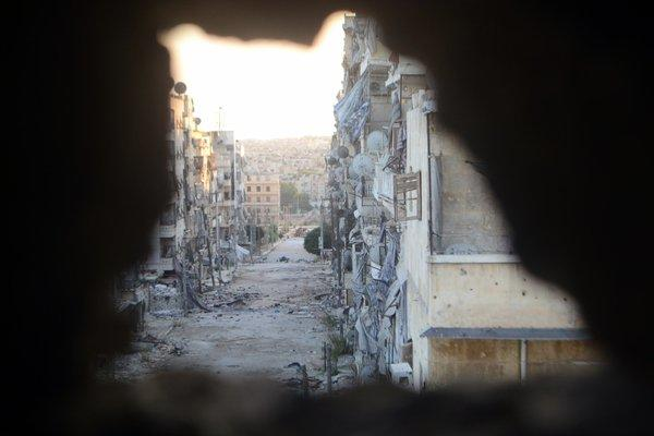 Devastated street in the northern Syrian city of Aleppo.