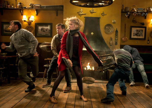 "Rosamund Pike (center) stars as Sam in Edgar Wright's ""The World's End,"" a Focus Features release."