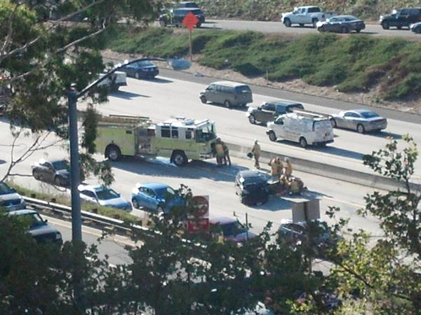 Three people were injured in this three-car crash early Friday on the Ventura (134) Freeway.