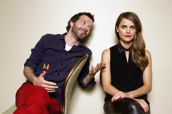 "Actors Bret McKenzie and Keri Russell at the time of release of ""Austenland."""