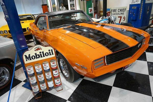 A Chevrolet Camero is on display at Surf City Garage, which is hosting a car show Sunday.