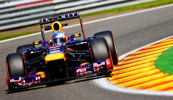 Sebastian Vettel of Red Bull Racing takes part in a practice session Friday for Sunday's Formula One Belgian Grand Prix.