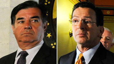 Republican Michael Pavia, left, who succeeded Gov. Dannel Malloy as Stamford Mayor, has ordered an investigation into landscaping work done on Malloy's home.