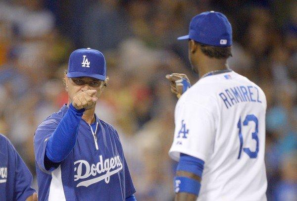 Don Mattingly points at Hanley Ramirez following the Dodgers' victory over the Boston Red Sox, 2-0, on Friday.