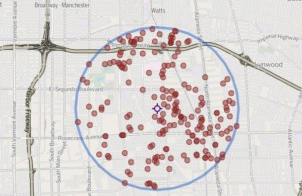 The purple marker shows the location of a killing Friday night in the 900 block of West 134th Street in Compton. The red markers show the locations of 195 homicides within 2 miles of that location since 2007.