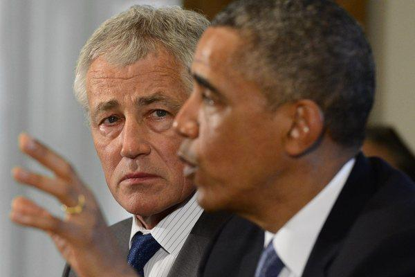 President Obama reportedly met with senior advisors on Saturday to discuss options for addressing the Syrian conflict. Above, Obama and Secretary of Defense Chuck Hagel at a White House news conference on May 16.