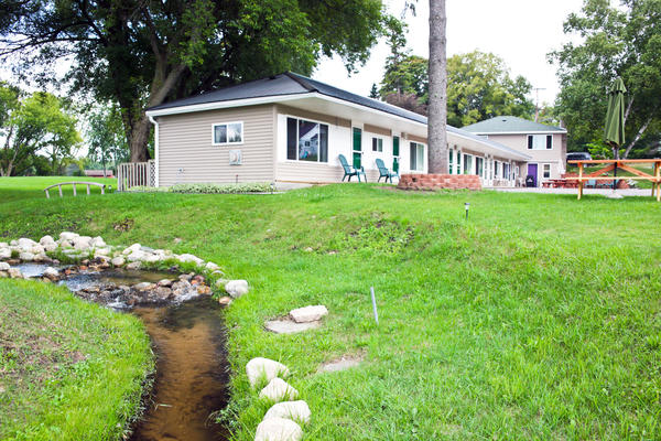 The East Jordan Motel is directly across the highway from Lake Charlevoix's South Arm, plus has a nearby babbling brook.