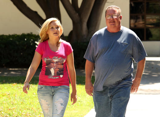 A photo released by NBC shows Hannah Anderson, left, and her father Brett Anderson in San Diego, Calif.