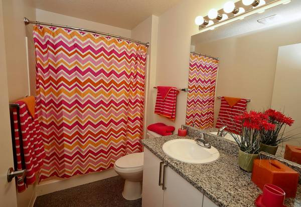 One of the model bathrooms inside UCF's new NorthView housing facility on July 31, 2013.