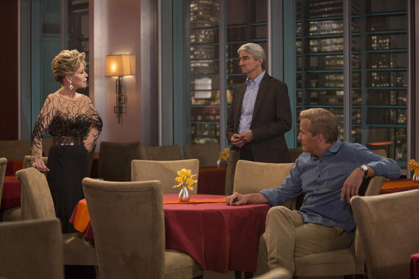 "From left to right: Jane Fonda, Sam Waterston and Jeff Daniels on ""The Newsroom."""