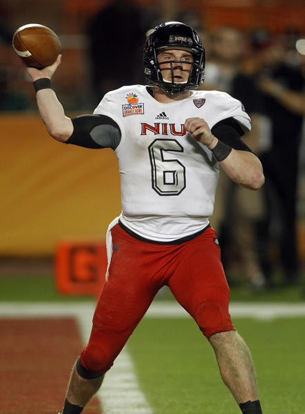 Northern Illinois quarterback Jordan Lynch passes during the Orange Bowl at Sun Life Stadium in Miami.