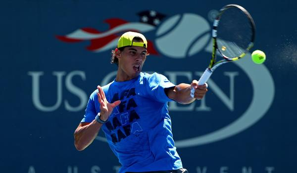 Rafael Nadal practices at the USTA Billie Jean King National Tennis Center on Saturday in preparation for the U.S. Open, which begins Monday.