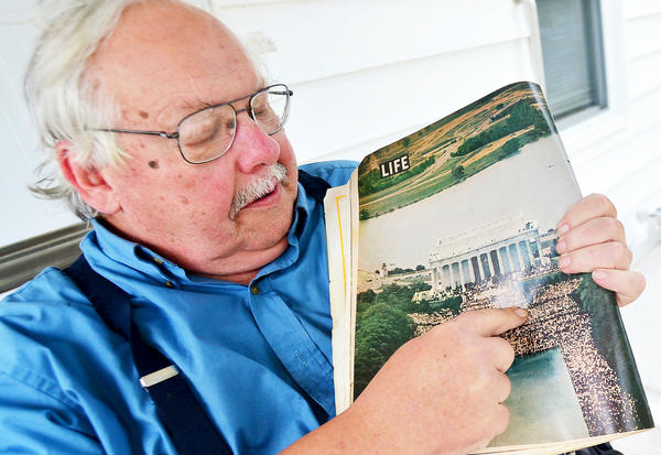 Russell Williams of Hagerstown recalls where he stood in front of the Lincoln Memorial during the March on Washington in a photo printed in the September 3, 1963 issue of Life magazine.