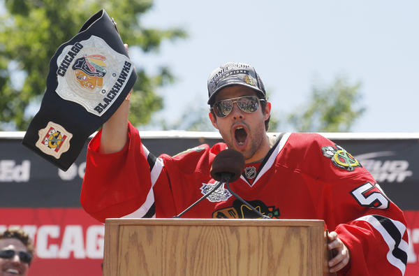 Blackhawks goalie Corey Crawford at the Stanley Cup rally.