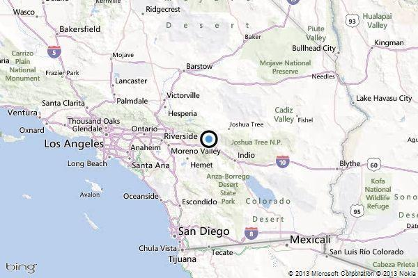 A map showing the location of the epicenter of Saturday afternoon's quake near Morongo Valley, California.