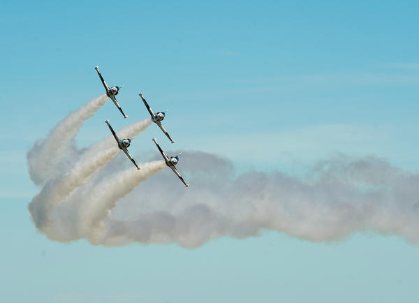The Black Diamond Aerobatic Team perform at the Lehigh Valley International Airport as part of the Lehigh Valley Airshow on Saturday.