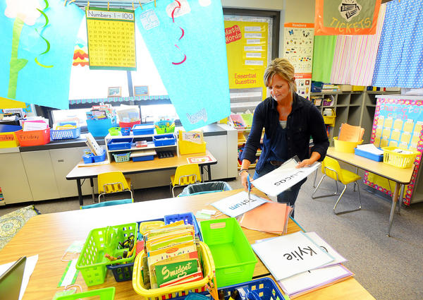 Nickey Estep a kindergarten teacher at Greencastle-Antrim Primary School was in her room Thursday preparing for Monday's start of the school year.