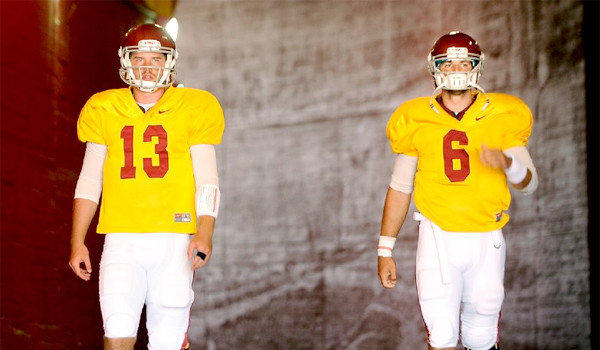 USC Coach Lane Kiffin says both Max Wittek, left, and Cody Kessler, right, will play quarterback for the Trojans during their season-opener at Hawaii on Thursday.