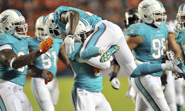 Miami Dolphins free safety Reshad Jones (top) leaps on teammate inside linebacker Dannell Ellerbe (59) after making a tackle during the first quarter against the Tampa Bay Buccaneers at Sun Life Stadium. Mandatory Credit: Steve Mitchell-USA TODAY Sports ORG XMIT: USATSI-133188