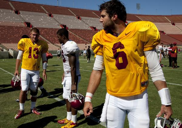 USC quarterbacks Cody Kessler (6) and Max Wittek (13) are both expected to get playing time against Hawaii on Thursday.