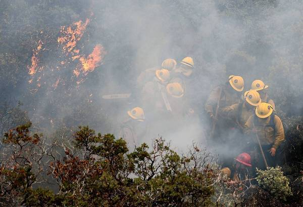 Firefighters move away from burning brush as they battle the Rim fire in Yosemite National Park. Late Saturday, it was only 5% contained.