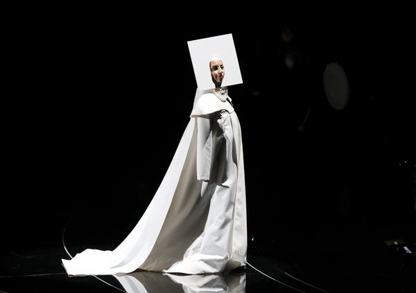 Singer Lady Gaga appears onstage during the 2013 MTV Video Music Awards in New York.
