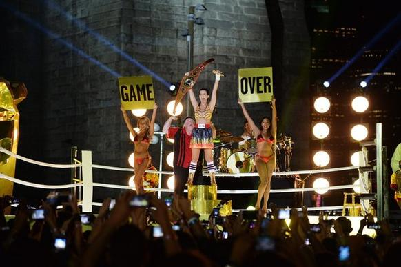 Katy Perry performs as the closing act during the 2013 MTV Video Music Awards in Empire-Fulton Ferry Park in the shadow of the Brooklyn Bridge.