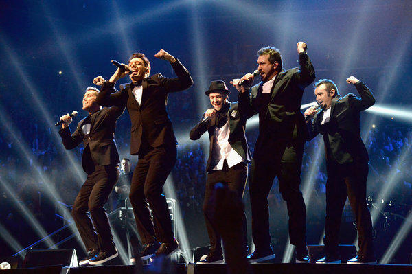 'N Sync -- Lance Bass, JC Chasez, Justin Timberlake, Joey Fatone and Chris Kirkpatrick -- performs during the 2013 MTV Video Music Awards in New York City.