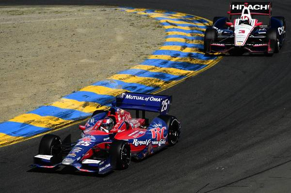 Marco Andretti leads Helio Castroneves during the IndyCar Series GoPro Grand Prix of Sonoma at Sonoma Raceway on Sunday.
