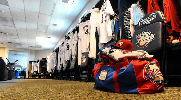 A Lehigh Valley IronPigs' duffle bag sits in the locker room prior to the team's trip to Buffalo last week. The clubhouse attendants, or 'clubbies' are responsible for handling the team's gear -- and some special requests from the players.
