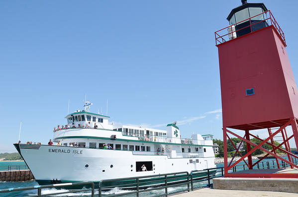 The Beaver Island ferry Emerald Isle travels through the Pine River Channel in Charlevoix headed for Beaver Island a day after returning to service in July after being sidelined for nearly a month by an engine failure.