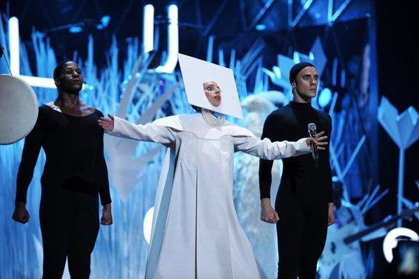 Lady Gaga performing at the MTV Video Music Awards.