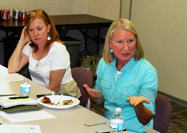 Main Street Commissioner Beth Fahey, left, reviews a checklist as consultant Cathy Maloney addresses improvements to the downtowntinleypark.com website during an Aug. 21 Main Street Commission meeting.