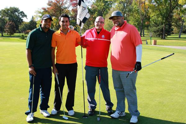 From left, Nadeem Shalabi, Sam Bashir, Billy Zureikat and Jay Shalabi at The Prayer Center's annual golf outing last year.