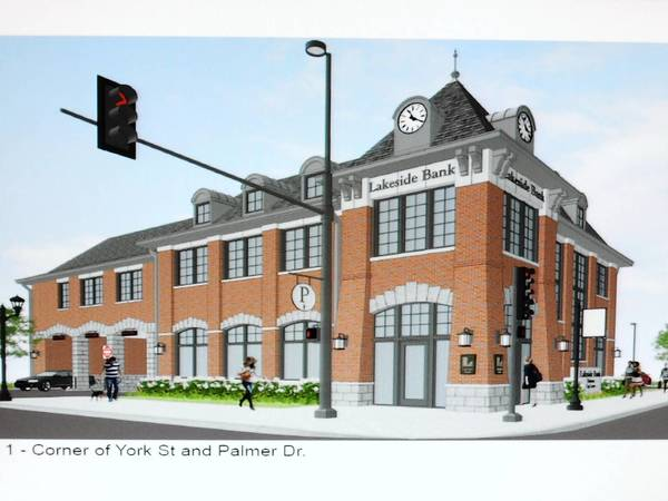 A rendering of the new Lakeside Bank building planned for the northeast corner of York Street and Palmer Drive.