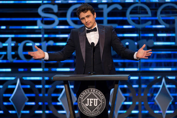 Actor James Franco on stage during the Roast of James Franco at Culver Studios, Sunday, Aug. 25, 2013, in Culver City.